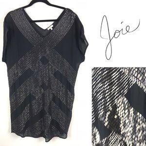 Joie black beaded silk tunic style shift dress s